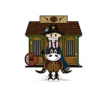 Cute Cowboy Sheriff at the Jailhouse Photographic Print