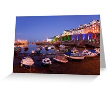 Brixham Devon, Inner Harbour by Night Greeting Card