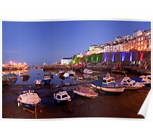 Brixham Devon, Inner Harbour by Night Poster