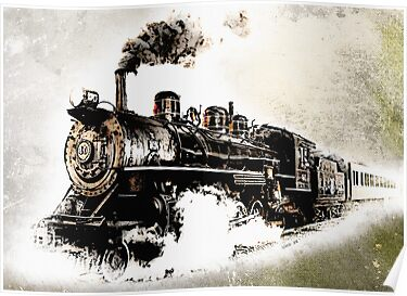 Vintage Steam Train   Posters Vintage Train Poster