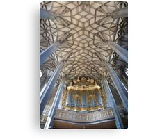 Pipe organ and ceiling of Halle Marktkirche, Germany Canvas Print