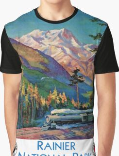 Rainier National Park Vintage Poster Restored Graphic T-Shirt