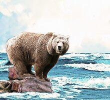 Brown Bear on the Open Ocean by Abie Davis