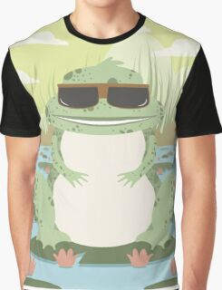 Xenopus with sunglasses in a pond Graphic T-Shirt