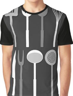 Kitchen Utensil Silhouettes Monochrome Graphic T-Shirt