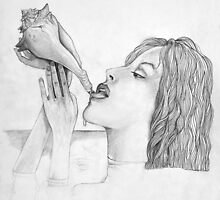 Lady Drinking from a Conch by Steve Williams