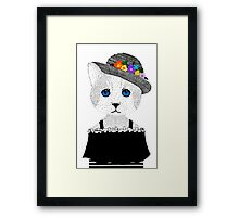 The Staring Cat & The Straw Hat Framed Print