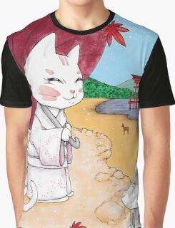 Geisha cat from Miyajima Graphic T-Shirt