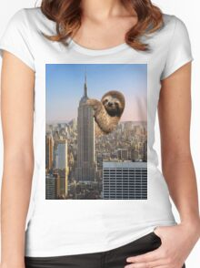 The Empire Sloth Building Women's Fitted Scoop T-Shirt