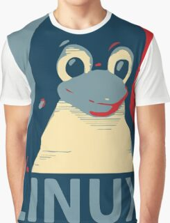 Linux Tux penguin poster head red blue  Graphic T-Shirt