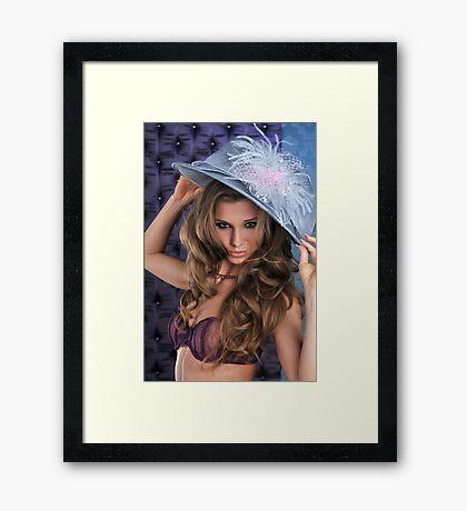 Sexy Lingerie Model posing pretty at studio vintage background Framed Print