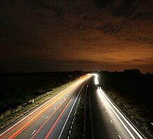 Long Exposure Highway at Night by honestyS2