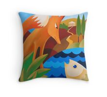 THE FOX AND THE FISH Throw Pillow