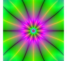 Pink and Green Starburst Photographic Print
