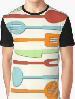 Kitchen Utensil Colored Silhouettes on Cream II Graphic T-Shirt