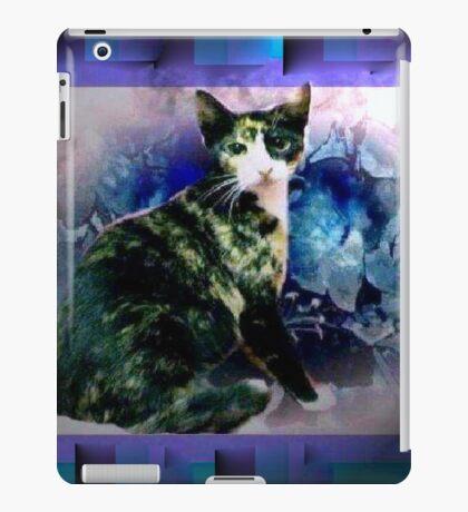 Tortoise shell cat by blue flowers iPad Case/Skin