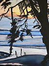 Sunset, Family Walks With Dog by Sandra Gray