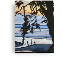 Sunset, Family Walks With Dog Canvas Print