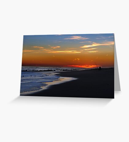 Fishing at sunset time at empty ocean Greeting Card