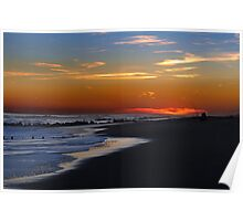 Fishing at sunset time at empty ocean Poster