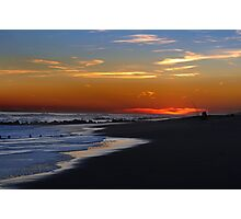 Fishing at sunset time at empty ocean Photographic Print