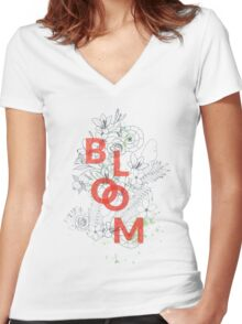 Bloom #redbubble Women's Fitted V-Neck T-Shirt