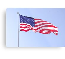 red white and blue on blue Metal Print