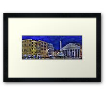 Pantheon square in Rome by night Framed Print
