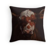 Calf Cow Pastel Painting Throw Pillow