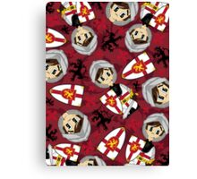 Cute Medieval Crusader Knight Pattern Canvas Print