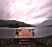 """Loch Earn, St Filians Jetty as seen in """"The Scotsman"""" by Vincent Lamb"""