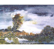 Snow Falling on Pond Photographic Print