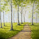 Sunny Forest Road by Claudia Hansen