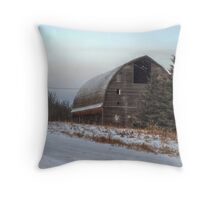 Large Barn in Trees Throw Pillow