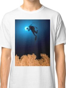 Underwater photograph of a diver swimming above an Anella Alcyonacea (soft corals) coral Classic T-Shirt