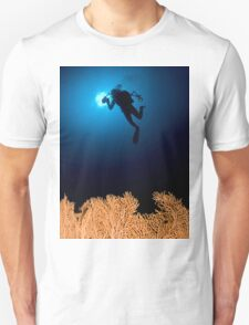 Underwater photograph of a diver swimming above an Anella Alcyonacea (soft corals) coral Unisex T-Shirt