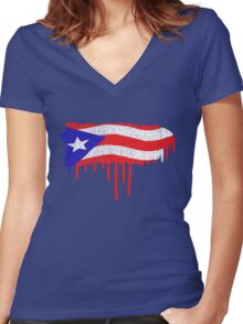 Puerto Rico Paint Drip  Women's Fitted V-Neck T-Shirt