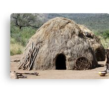 Africa, Ethiopia, Debub Omo Zone, hut of the Mursi tribe.  Canvas Print