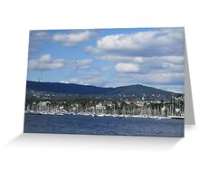 Boats Lined Up in Oslo Harbour Greeting Card