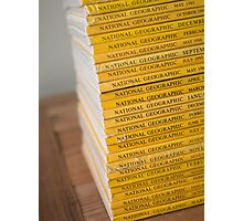 National geographic magazines stacked Photographic Print