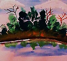 Pines by the water in reflection, watercolor by Anna  Lewis
