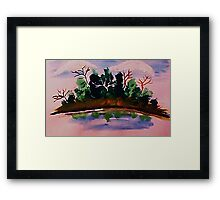 Pines by the water in reflection, watercolor Framed Print