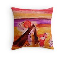 Dad with kids on beach, watercolor Throw Pillow