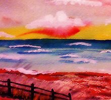 Warm sultry sunset,watercolor by Anna  Lewis