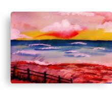 Warm sultry sunset,watercolor Canvas Print