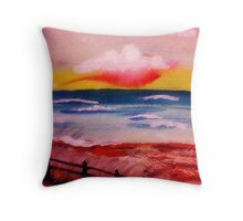 Warm sultry sunset,watercolor Throw Pillow