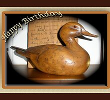 Birthday Card - Wooden Duck Decoy by MotherNature