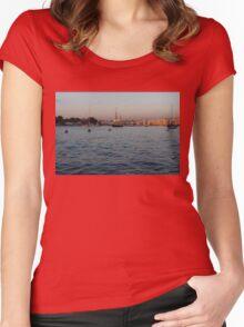 Sunrise Glow at Malta's Marsamxett Harbour Women's Fitted Scoop T-Shirt