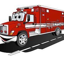 Cartoon Rescue Squad Ambulance by Graphxpro