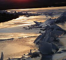 Unity Lake - Sunset on Ice  by © Betty E Duncan ~ Blue Mountain Blessings Photography